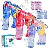 Best Bubble Guns - 3 Bubble Guns with 6 Bottles Bubble Solution Review
