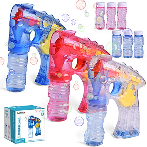 FUN LITTLE TOYS 3 Bubble Guns with 6 Bottles Bubble Solution, Bubble Blower for Bubble Blaster Party Favors, Summer Toy, Outdoors Activity, Birthday Gift (Without Sound)