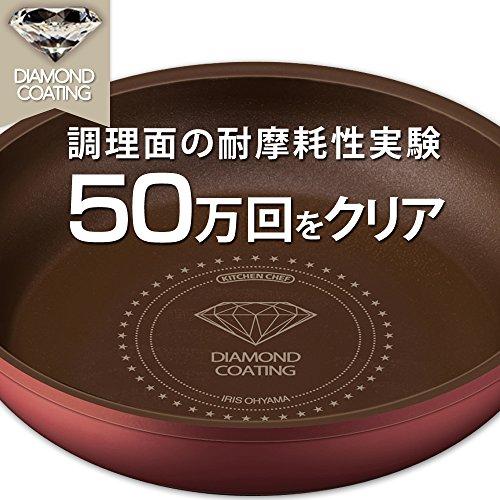 アイリスオーヤマダイヤモンドコートパン6点セットレッドH-GS-SE6