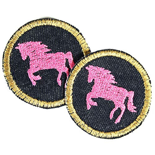2 Bügelflicken Pferd Aufbügler ø 5cm mini Bügelbilder runde Flicken zum aufbügeln rosa Pferde Applikation