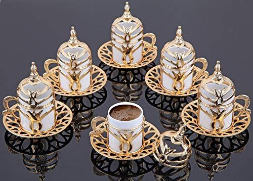 LaModaHome Espresso Kaffeetasse mit Untertasse und Deckel 6er Set Porzellan Türkisch Arabisch Griechisch Kaffee Set Kaffeetasse für Damen Herren Erwachsene Einzug Hochzeit Geschenke - Weiß/Gold