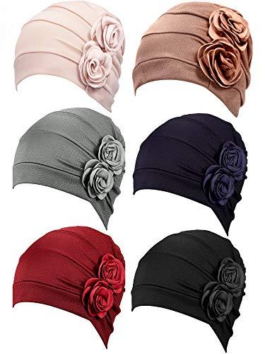 6 Pieces Women Turban Flower Caps Elastic Beanie Headscarf Vintage Headwrap Hats(2 Flowers Style), Multicoloured, One Size