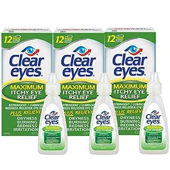 Clear Eyes Eye Drops Maximum Itchy Eye Relief 0.5 Fl Oz  Pack of 3