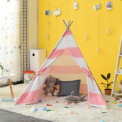 YUANYI Teepee Tent For Kids Foldable Children Play Tent For Girl And Boy With Carry Case 4 Poles White Canvas Playhouse Toy For Indoor And Outdoor Games,Pink