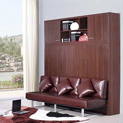 LKU Bett Leder Bettrahmen weiches elektrisches Sofa Schrankbett Hauptschlafzimmermöbel Kamas Beleuchtung, 1