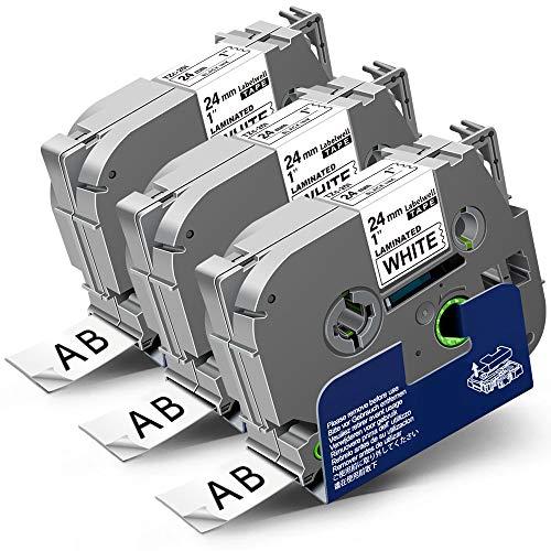 3x Labelwell 24mm x 8m Sostituzione Nastro Compatibile per Brother Tz Tze-251 Tze251 Tz251 Nero su Bianco per Brother P-Touch PT-E500VP PT-P900W PT-P950NW PTD600 PT-D600VP PT-P750W PT-H500LI PT-2430PC
