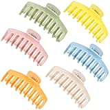 Lomodo 6 Pieces Plastic Large Hair Clips Claw Banana Hair Claws Clip French Design Accessories for Women Girls Very Strong Hold for Thick and Thin Hair (4.4 Inch multicolour 2)