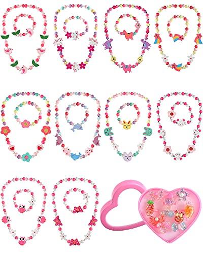 Set di 30 Gioielli Bracciale Collana Principessa Ragazza Include 10 Set Braccialetto con Collana di Perline da Bambina e 10 Anelli con Scatola a Forma di Cuore in Plastica (Stile Coniglio)
