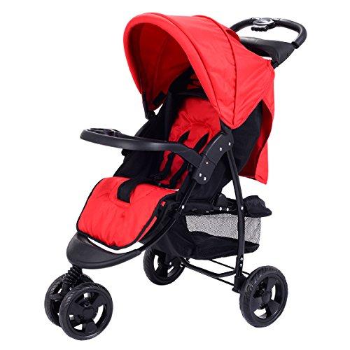 Costzon Infant Stroller 3 Wheel Baby Toddler Pushchair Travel Jogger w/Storage Basket (Red)