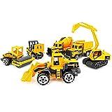 BESTZY Veicoli da Cantiere 6 Pezzi Escavatore con Attrezzo DIY Modello Gioco di Auto per Bambini Ragazzo Ragazza 3 Anni