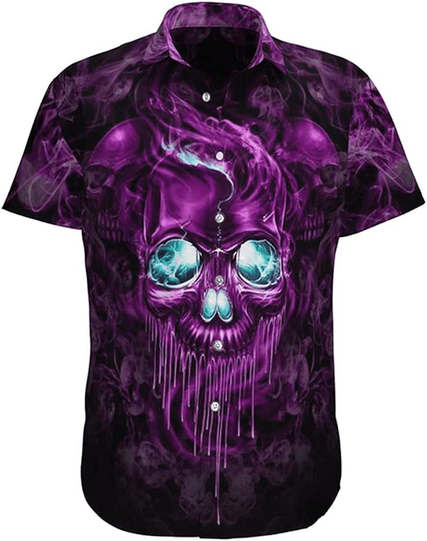 Tropical Skull Hawaiian Shirts for Men - Summer Skull Button Down Mens Hawaiian Shirts Short Sleeve Series 161