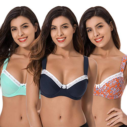 Curve Muse Women's Plus Size Underwired Unlined Balconette Cotton Bra-3Pack-NAVY,LT Green,Orange Print(3 Pack)-46B