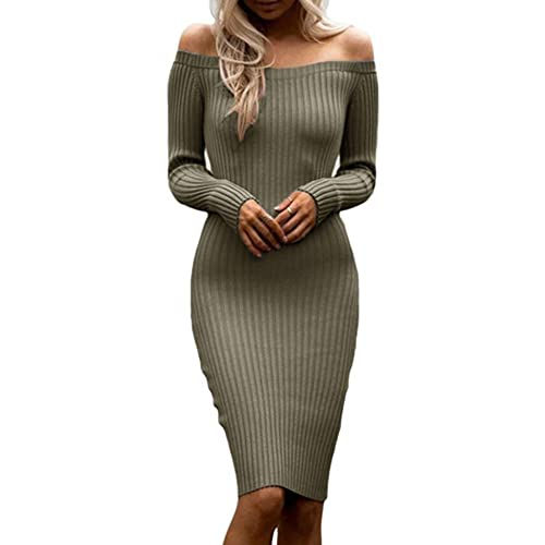 3c8716a95c Dellytop Womens Off The Shoulder Sweater Dresses Long Sleeve Ribbed Bodycon  Midi Dress