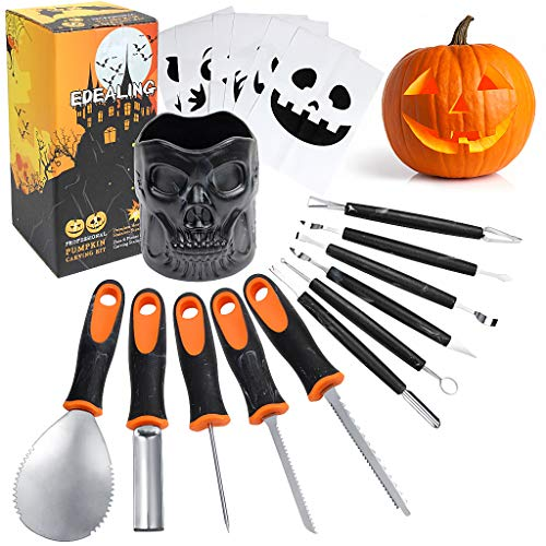 Professional Pumpkin Carving Kit,11 Pcs Handle Heavy Duty Stainless Steel Sculpting Tools for Halloween with Skull Shaped Holder and 6 Pcs Paper Carving Templates