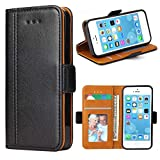 Bozon iPhone 5S Hülle, iPhone SE Hülle, iPhone 5 Hülle, Leder Tasche Handyhülle Flip Wallet Schutzhülle für iPhone 5/ SE/ 5S mit Ständer & Kartenfächer/Magnetic Closure (Schwarz)