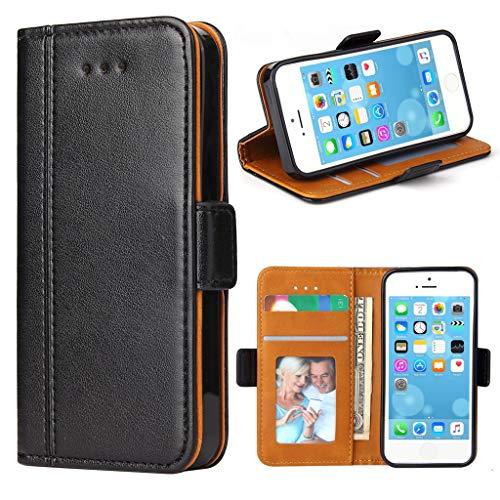 Bozon iPhone 5S Hülle, iPhone SE Hülle, iPhone 5 Hülle, Leder Tasche Handyhülle Flip Wallet Schutzhülle für iPhone 5/ SE/ 5S mit Ständer & Kartenfächer/Magnetic Closure (Schwarz) - 4 Zoll