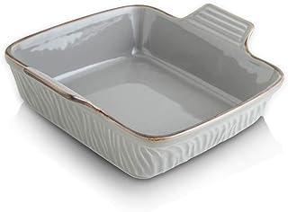 KOOV Ceramic Baking Dish, Brownie Baker, Square Baking Pan for Cooking, Cake Dinner, Kitchen, 8 x 8 inch, Texture Series (...