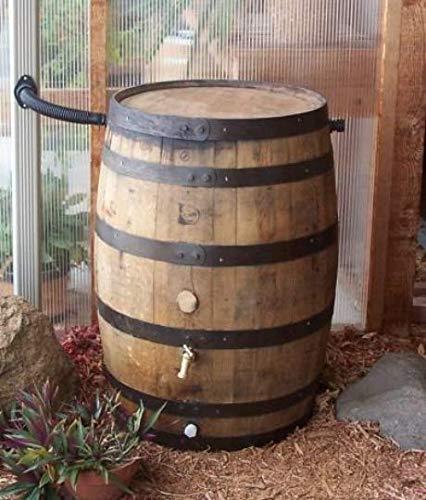 Aunt Molly's Barrels Whiskey Barrel Rain Barrel with Flex-Fit Water Diverter