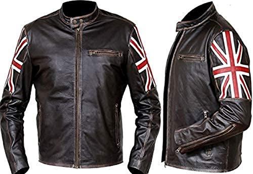 Chaqueta de piel auténtica para moto, color marrón oscuro, con bandera del Reino Unido, estilo vintage