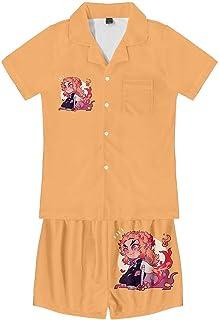 Pyjama Sets,Anime Demon Slayer Printed Nightwear Loungewear Set Breathable Comfortable Short Sleeve 2 Piece Set Unisex