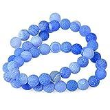 YUXIN Zhaochen Cuentas De Piedras Naturales Heladas Ágatas Onyx For La Fabricación De Joyería De Los Granos Mate (Color : Light Blue, Size : 10mm About 36pcs)
