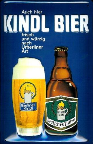Buddel-Bini Versand Targa in Metallo nostalgico Berliner Kindl Birra Fresca e Piccante Schild Birra pubblicità