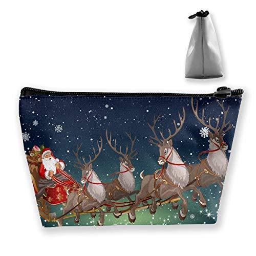 Event Fiktive Figur Rentier Weihnachtsstrümpfe Schminktasche Große trapezförmige Aufbewahrung Reisetasche Waschen Kosmetikbeutel Stifthalter Reißverschluss Wasserdicht
