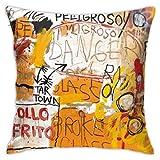 LongTrade Jean-Michel Basquiat P64 Fodera per Cuscino per Fodera per Cuscino Cuscino Quadrato Decorativo Moderno per Divano casa 18x18 Pollici