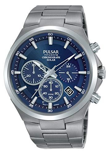 Pulsar Solar Herren-Uhr Chronograph Titan mit Metallband PZ5095X1