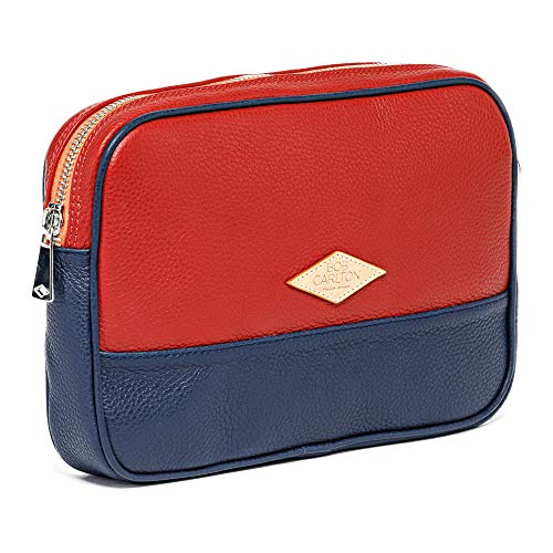 Bob Carlton Men's Wallet – Men's Business Bag 29 x 19 x 4 cm – Men's Leather Bag – Casual Elegance (Red and Navy Grained Leather)