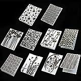 10 Styles Plastic Embossing Folder DIY Craft Template Molds Stamp Stencils Scrapbook Paper Cards Photo Album Making Tool Embossing Folders Handmade Art Craft Supplies Fondant Cake Decorating Mold