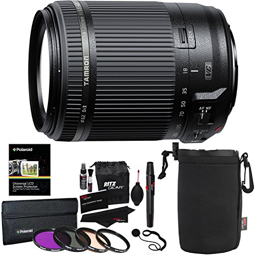 Tamron AF 18-200mm F/3.5-6.3 Di-II VC All-in-One Zoom for Canon APS-C Digital SLR, Polaroid Filter Kit, Ritz Gear Protective Lens Pouch, and Accessory Bundle