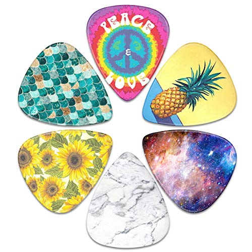 Guitar Picks – Surmoler 6 Pack Universal Plastic Guitar Picks for Acoustic and Electric Guitar (beautiful)