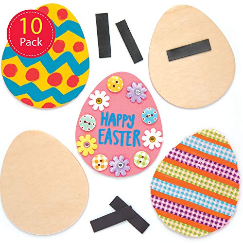 Baker Ross Calamite in legno con uova di Pasqua (confezione da 10) - Creazioni pasquali per bambini, da decorare, personalizzare ed esporre
