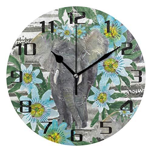 F17 - Reloj de pared redondo con diseño de elefante tropical y flor de Anmial de 9.8 pulgadas de PVC creativo decorativo para cocina, dormitorio, baño, sala de estar
