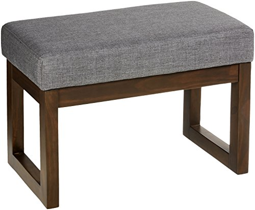 Red Hook Leda Rectangular Upholstered Ottoman Bench - 27 x 14.5 x 18.5 Inches, Stone Grey