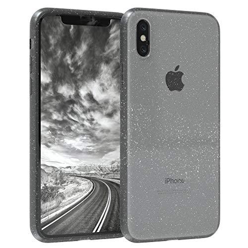 EAZY CASE Hülle kompatibel mit Apple iPhone XS Max Schutzhülle mit Glitzer, Handyhülle, Schutzhülle, Back Cover mit Glitter, TPU/Silikon, Transparent/Durchsichtig, Anthrazit