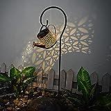 Surfiiiy Gartenlampen Gießkanne Gartengießkanne Licht Lampions, Watering Can Fairy Lights Solar LED Light Garten Deko lampions für Outdoor Garten Hof (A1 Mit Halterung) (Solarlampen B)