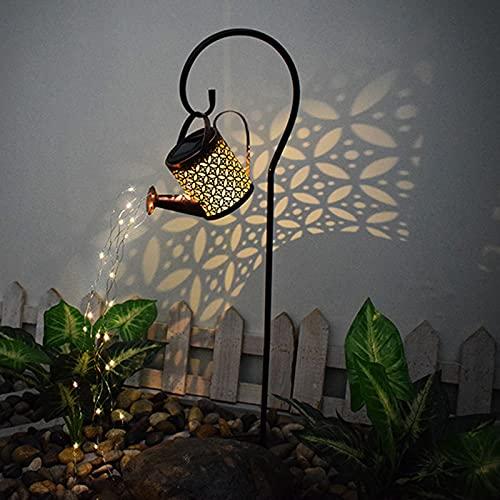 Surfiiiy Garden lamps, watering can, garden watering can light, lanterns, watering can fairy lights, solar LED light, garden decorative lanterns for outdoor garden yard (I3 with bracket)