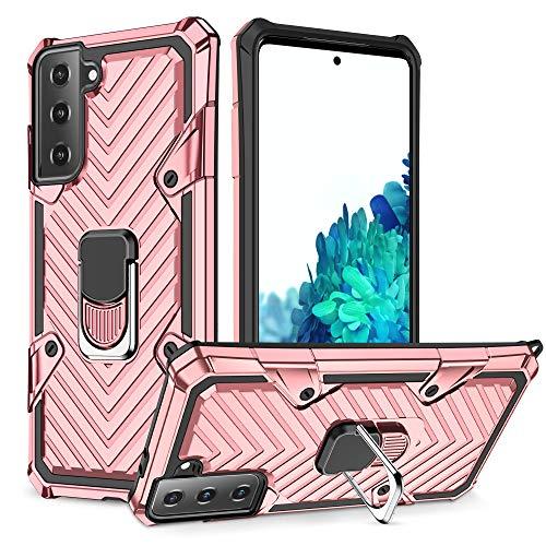COCOMC Funda Compatible para Samsung Galaxy S21Plus Carcasa Case Soporte de Anillo Metal PC Rígido+TPU Soft Anti-caída Dactilares Magnética Cover[New Upgrade] Oro Rosa