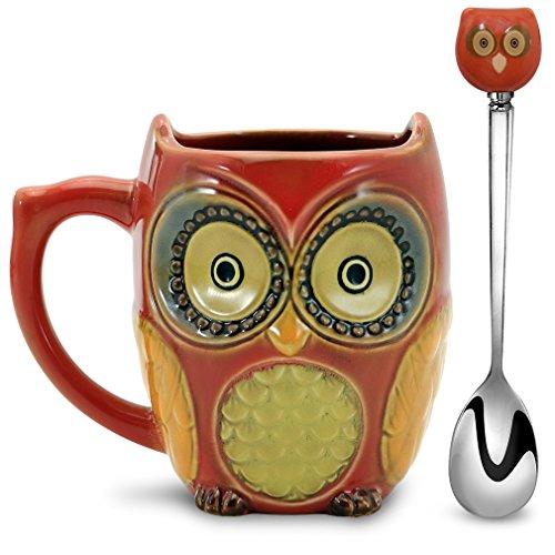 SQOWL 3D Coffee Mug Funny Cute Owl Ceramic Cup Coffee Mug with spoon Tea Mugs Set for Women and girls 12 oz Red