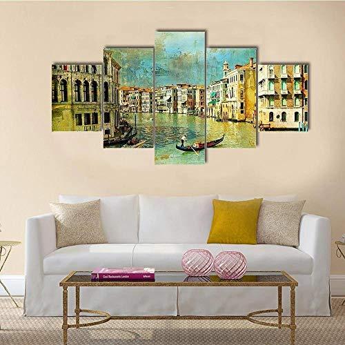IOOIO Quadri 5 Pezzi Immagine Arte Parete 5 Pezzi Quadri Moderni Dipinti Gran Canale a Venezia Letto Divano Sfondo Home Decor
