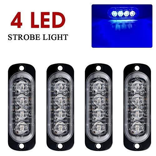 4pcs 12-24V Ultra Sottile Lampeggiante Emergenza Avvertimento Strobo Luci Luce - 4LEDS Flash Warning Light Bar - Auto Moto Truck-Blu