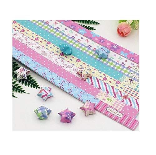 Elegante pequeña flor de origami estrella, estrella de la suerte deseando botella, pila de papel de estrellas de colores, origami hecho a mano de estrella de cinco puntas