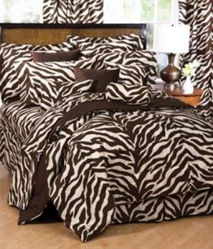 Brown and Tan Zebra 6 Pc EXTRA LONG TWIN Comforter Set (Comforter, 1 Flat Sheet, 1 Fitted Sheet, 1 Pillow Case, 1 Sham, 1 Bedskirt) SAVE BIG ON BUNDLING!