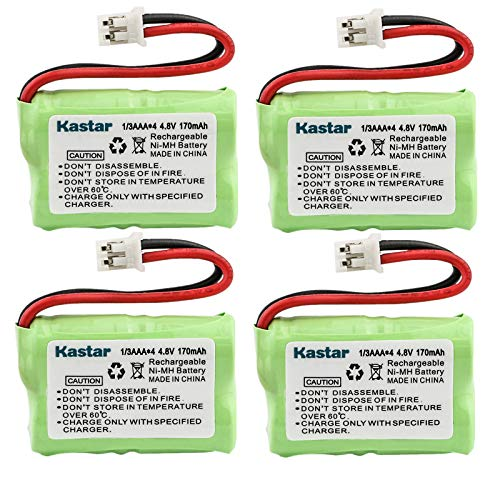 Kastar 4-Pack 4.8V 170mAh Ni-MH Rechargeable Battery for SportDog FR200, SD-400, SD-800, PetSafe Yard & Park Remote Dog Trainer, PDT00-12470 RFA-417 PAC00-12159 FR-200P Collar Receiver Plus Coaster
