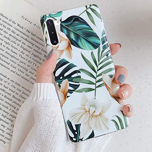 Herbests Kompatibel mit Samsung Galaxy Note 10 Hülle Handyhülle Weich TPU Silikon Schutzhülle Durchsichtige Hülle mit Motiv Blumen Blätter Ultra Dünn Hülle Silikon Bumper Rückschale Case,Weiß Blumen