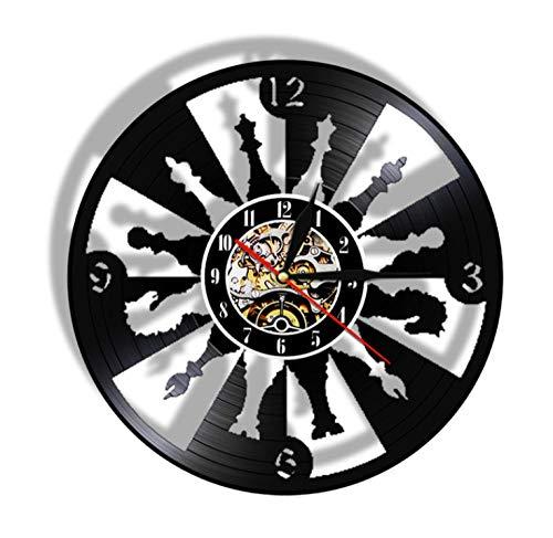 Vinilo Pared Reloj Ajedrez Disco de Vinilo Reciclado Reciclado Reloj de Pared Juego de ajedrez Multi Coldecorors Letrero LED Amante de Las Damas internacionales LED