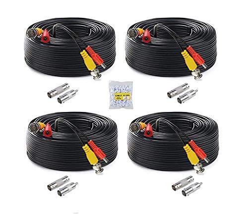 Anlink Paquete de 4 cables BNC todo en uno prefabricados para sistema de cámara de seguridad y cámaras CCTV Bullet o cámaras domo 4...