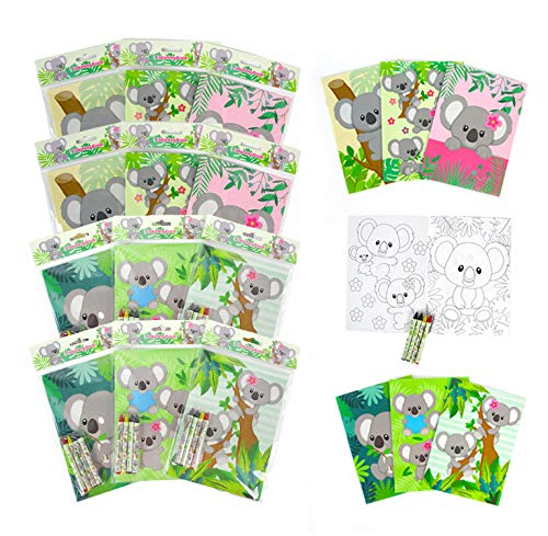 TINYMILLS Koalas Coloring Books for Kids with 12 Coloring Books and 48 Crayons, Koala Birthday Party Favors, Favor Bag Fillers, Classroom Rewards, Carnival Prizes Stocking Stuffers Wedding Favors for Kids